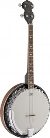 Stagg 4-String Bluegrass Banjo Deluxe W/ Metal Pot 30 Bracket Mahogany Resonator