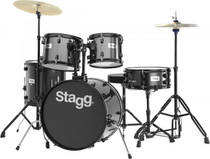 "Stagg 5-Piece 6-Ply Basswood 20"" Drum Set W/ Hardware & Cymbals Kit Black"
