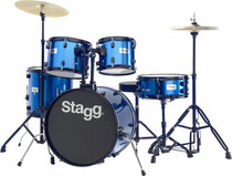 "Stagg 5-Piece 6-Ply Basswood 20"" Drum Set W/ Hardware & Cymbals Kit Blue"