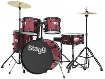 "Stagg 5-Piece 6-Ply Basswood 20"" Drum Set W/ Hardware & Cymbals Kit Wine Red"