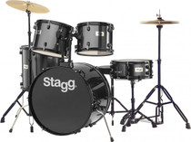 "Stagg 5-Piece 6-Ply Basswood 22"" Drum Set W/ Hardware & Cymbals Kit Black"