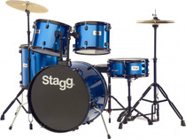 "Stagg 5-Piece 6-Ply Basswood 22"" Drum Set W/ Hardware & Cymbals Kit Blue"