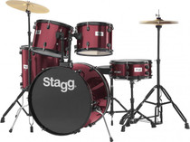 "Stagg 5-Piece 6-Ply Basswood 22"" Drum Set W/ Hardware & Cymbalswine Red"