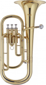 Bb Baritone Horn 3 Piston Valve W/Abs Case Gold Lacquer Bell 23 Cm Bore 13.4 Mm