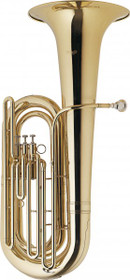Stagg Bbb Tuba 3 Pistons In Nickel Silver W/Abs Case On Wheels Gold Lacquer