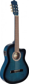 STAGG Acoustic-Electric Nylon String Classical Cutaway Blue Guitar w 4 Band EQ