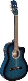 STAGG Acoustic-Electric Nylon String Classical Cutaway Blue Guitar w 4 Band EQ