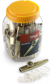 Box Of 30 Gold Colored Metal Kazoos - Bulk Set For School Parties Or Resale