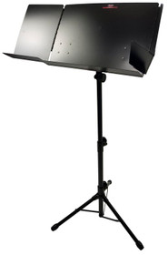 STAGG Folding Black Steel Orchestral Music Stand w Fold-Out Side Extension