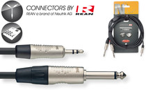 "Stagg Rean Neutrik 3M/10' MP3 Mini Stereo 1/8"" to Split Dual 1/4"" Plugs Y Cable"