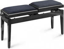 Twin Double Black Piano Bench Black Velvet W/ Independently Adjustable Height