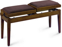 Twin Double Walnut Piano Bench Brown Velvet W/ Independently Adjustable Height
