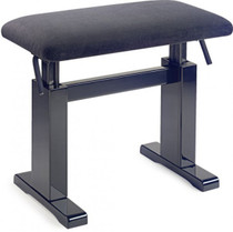 Stagg Black Hydraulic Piano Bench With Black Velvet Top W Adjustable Height