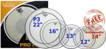 "REMO ProPack 12""13""16""Pinstripe 22""P3 Ambassador Clear w/dot+Free 14""snare head"