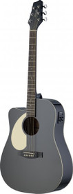 Stagg Left-Handed Acoustic-Electric Guitar B-Band EQ Lefty Dreadnought Black