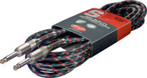 "Stagg 6M 20Ft Vintage Tweed Braided 1/4""  Guitar Instrument Cable-Black Rasta"