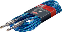 "Stagg 6M 20Ft Vintage Tweed Braided 1/4"" plug Guitar Instrument Cable-Surf Blue"