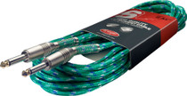 "Stagg 6M 20Ft Vintage Tweed Braided 1/4"" plug Guitar Instrument Cable-Surf Green"