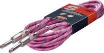 "Stagg 6M 20Ft Vintage Tweed Braided 1/4"" plug Guitar Instrument Cable- Pink Cord"