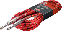 "Stagg 6M 20Ft Vintage Tweed Braided 1/4"" plug Guitar Instrument Cable-Red Cord"