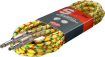 "Stagg 6M 20Ft Vintage Tweed Braided 1/4"" Guitar Instrument Cable-Yellow Rasta"