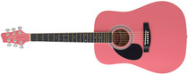 STAGG 3/4 Size Pink Left-handed Acoustic Dreadnought Guitar Lefty Child Junior