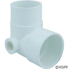 """Waterway Plastics 90 Street Ell, 2""""S X 2""""Spg X 1/2""""Fpt Side Outlet - 411-5040"""