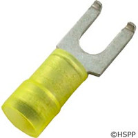 Generic Flanged Fork Terminal, Yellow 12-10Awg #10 Stud (Pkg 25) -