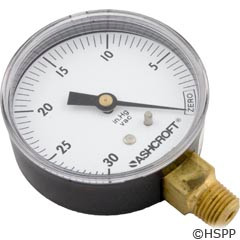 "Generic Vacuum Gauge 1/4""Mpt, 30"", Bottom Mount - 1422"