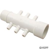 """Waterway Plastics Manifold, 1"""" S X 1"""" Spg X (6) 3/8"""" Barbs - 672-3900"""