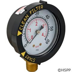 Pentair Pool Products Pressure Gauge, Bottom Mount, Adjustable Face - 190058