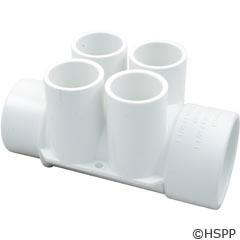 "Waterway Plastics Manifold 1.5""S/1.5""Spg (4)3/4""S Ports - 672-4190"