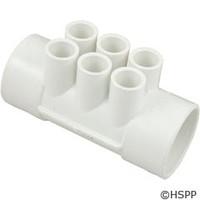 """Waterway Plastics Manifold, 2"""" S X 2"""" S (6) 1/2"""" S Ports - 672-4110"""
