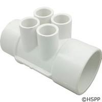 "Waterway Plastics Manifold, 2"" Spg X 2"" S, (4) 1/2"" Ports - 672-4250"