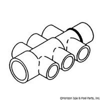 """Waterway Plastics Manifold 1"""" W/(6)1/2"""" Ports - 672-4440"""