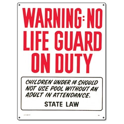 Pool Safety Sign - Warning No Lifeguard On Duty - 40323