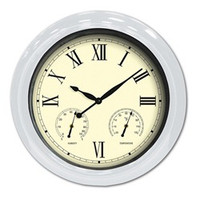 "18"" Clock/Thermometer/Hygrometer - White"