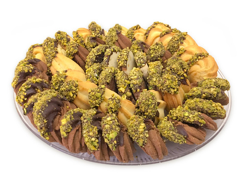 Assorted Petit Four pieces beautifully arranged on a tray - Front view - Libanais Sweets