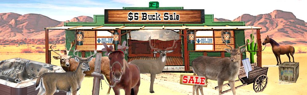 5 buck sale on hot tub parts and supplies