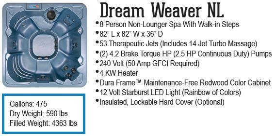 Dream Weaver non lounger hot tub QCA Spas