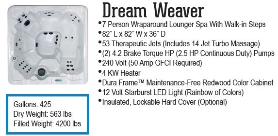Dream Weaver hot tub QCA Spas