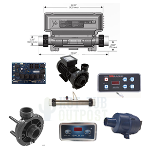 hot tub equipment including pumps, blowers, control systems, topside panels and circuit boards