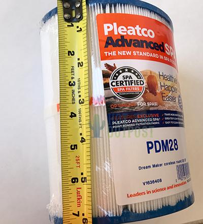pdm28 filter length for Dreammaker Spas