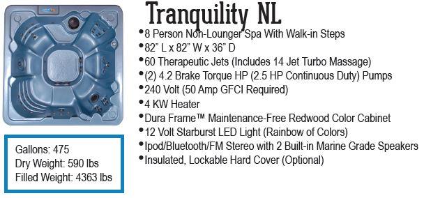 Tranquility Non Lounger spa QCA