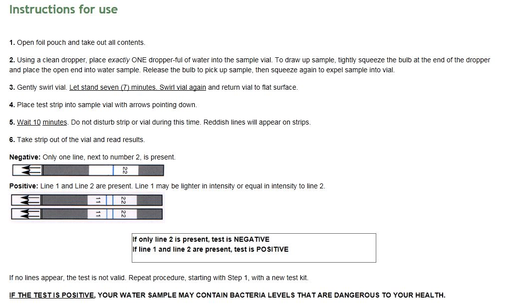 Watersafe bacteria test kit instructions