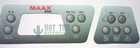 Maax Coleman C600 Control Panel Overlay 103-309 605