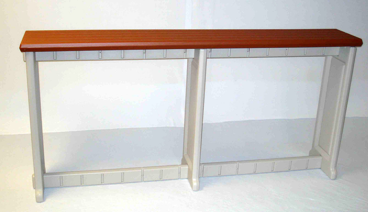 """Outdoor bar table 74"""" long 12"""" deep in redwood color"""