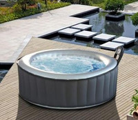 Silver Cloud inflatable hot tub. side view.