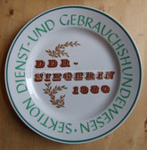 oo109 - East German National Champion dog handler 1980 winner presentation plate