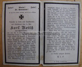 opc377 - Wehrmacht Leutnant Karl Reith - kia at Orel in Russia in 1943 - death card